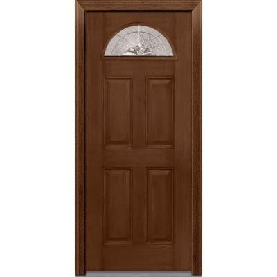 36 in. x 80 in. Heirloom Master Decorative Glass 1/4 Lite Finished Mahogany Fiberglass Prehung Front Door