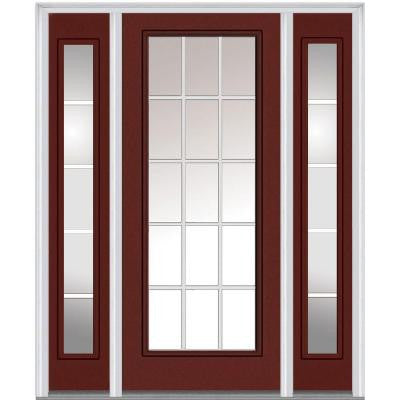 64 in. x 80 in. Classic Clear Glass GBG Full Lite Painted Fiberglass Smooth Prehung Front Door with Sidelites