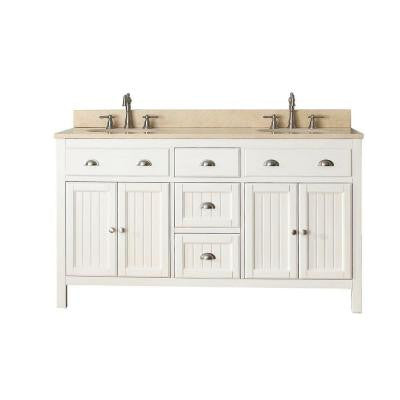 Hamilton 60 in. Vanity in French White with Marble Vanity Top in Gala Beige
