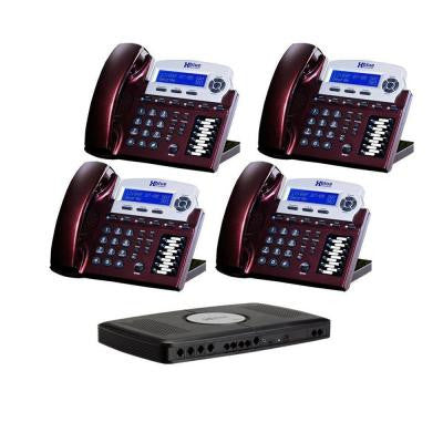 X16 Small office phone system - Red Mahogany (4-Pack)
