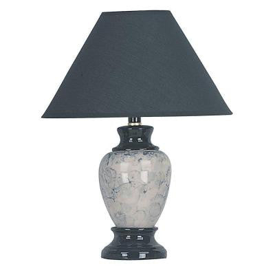 13 in. Ceramic Black Table Lamp