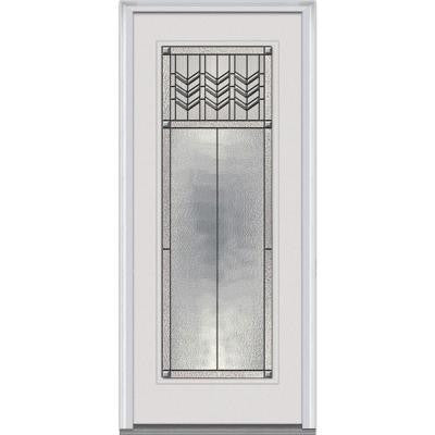 36 in. x 80 in. Prairie Bevel Decorative Glass Full Lite Primed White Fiberglass Smooth Prehung Front Door