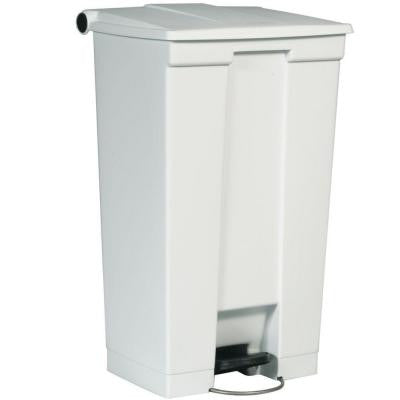 23 Gal. White Step-On Trash Can