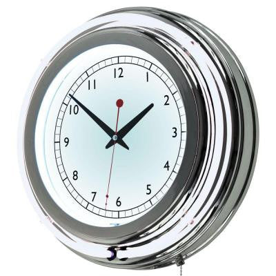 3 in. D x 14 in. H White Double Ring Neon Wall Clock