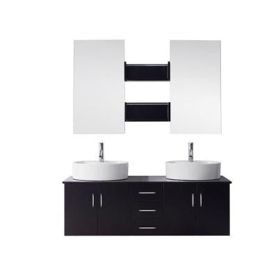 Enya 60 in. Double Basin Vanity in Espresso with Ceramic Vanity Top in White and Mirror