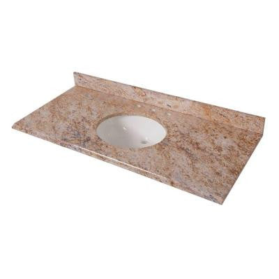 49 in. x 22 in. Stone Effects Vanity Top in Tuscan Sun with White Basin