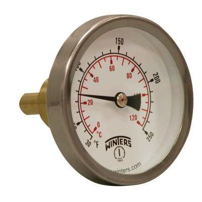 TSW Series 2.5 in. Dial Type Hot Water Thermometer with 3/4 in. Brass Sweatwell and Temperature Range of 30-250°F/C