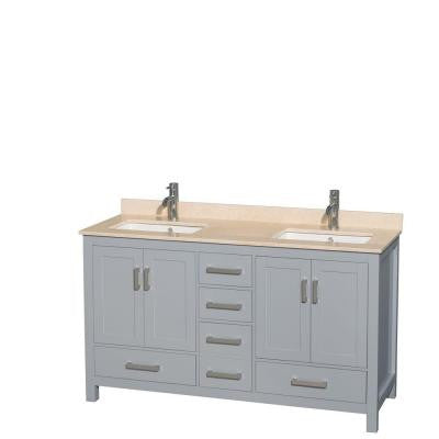 Sheffield 60 in. W x 22 in. D Vanity in Gray with Marble Vanity Top in Ivory with White Basins