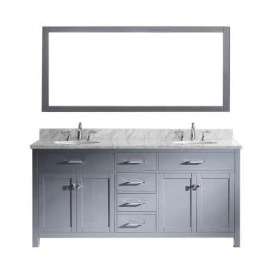 Caroline 72.8 in. Double Vanity in Grey with Marble Vanity Top in Italian Carrera White and Mirror