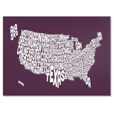 30 in. x 47 in. USA States Text Map - Mulberry Canvas Art