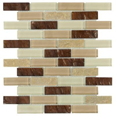 Soulful Quartz 10-3/4 in. x 12 in. x 8 mm Quartz and Glass Mosaic Wall Tile