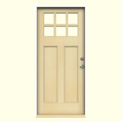36 in. x 80 in. Craftsman 6-Lite Unfinished Hemlock Prehung Front Door with Primed White AuraLast Jamb and Brickmould