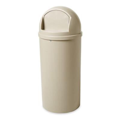Marshal 15 Gal. Beige Classic Round Top Trash Can