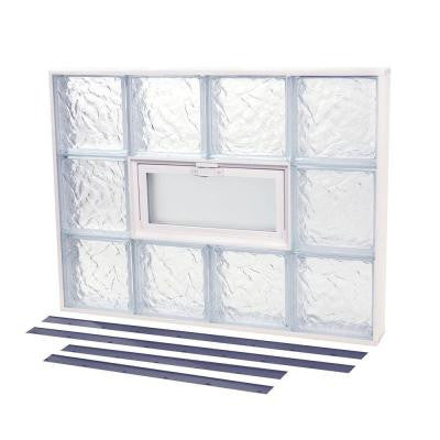 13.875 in. x 19.875 in. NailUp2 Vented Ice Pattern Glass Block Window