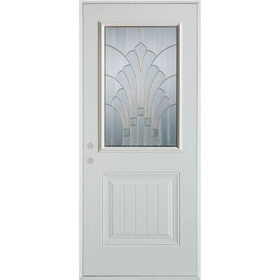 32 in. x 80 in. Art Deco 1/2 Lite 1-Panel Prefinished White Steel Prehung Front Door