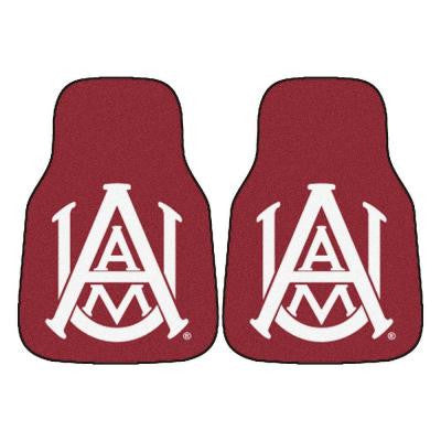 NCAA Alabama A&M University Heavy Duty 2-Piece 18 in. x 27 in. Nylon Carpet Car Mat