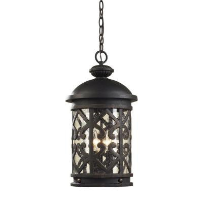 Tuscany Coast 3-Light Weathered Charcoal Outdoor Hanging Pendant