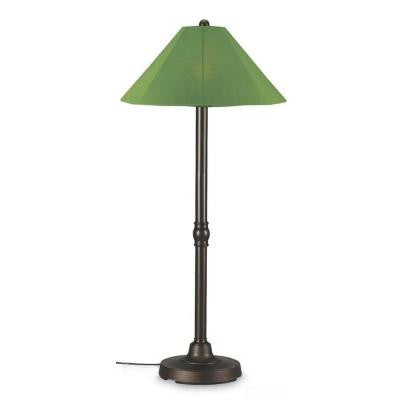 San Juan 60 in. Outdoor Bronze Floor Lamp with Palm Shade