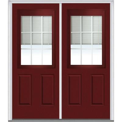 72 in. x 80 in. Classic Clear RLB GBG Low-E 1/2 Lite Painted Builder's Choice Steel Double Prehung Front Door