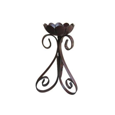 9 in. Dark Gray Iron Candle Holder