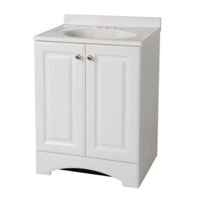 24-1/2 in. Vanity in White with AB Engineered Composite Vanity Top in White