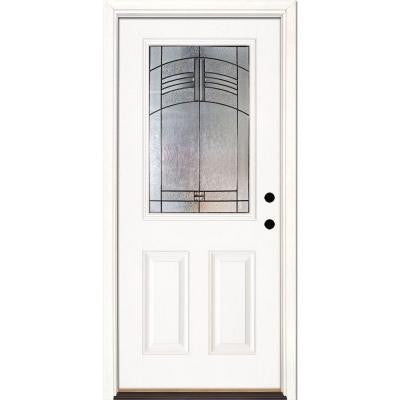 37.5 in. x 81.625 in. Rochester Patina 1/2 Lite Unfinished Smooth Fiberglass Prehung Front Door