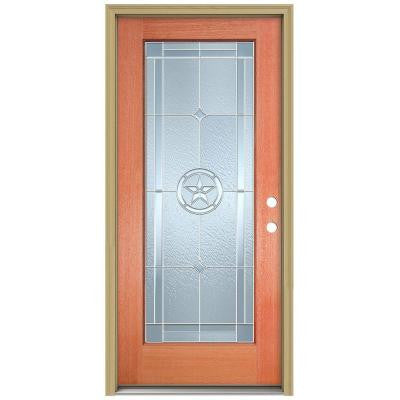 36 in. x 80 in. Lone Star Full Lite Unfinished Mahogany Wood Prehung Front Door with Brickmould and Zinc Caming