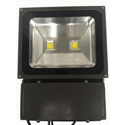 75-Watt (300-Watt Equivalent) Bronze 5000K LED Outdoor Dimmable Natural White Flood Light