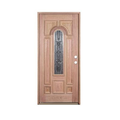 36 in. x 80 in. Deluxe Decorative Center Arch Lite Left-Hand Unfinished Mahogany Solid Wood Prehung Front Door