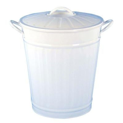 3.75 gal. White Round Retro Large Trash Can