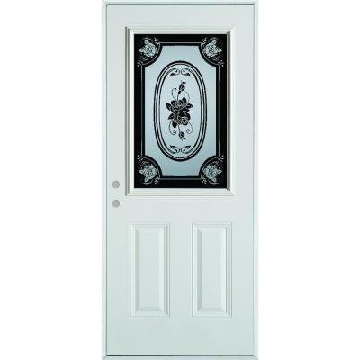 32 in. x 80 in. Silkscreened Glass 1/2 Lite 2-Panel Prefinished White Steel Prehung Front Door