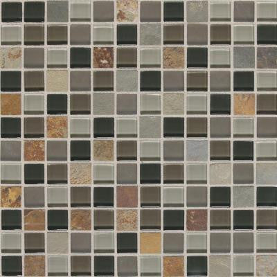 Slate Radiance Flint 12 in. x 12 in. x 8 mm Glass and Stone Mosaic Blend Wall Tile