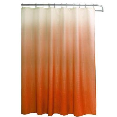 Ombre Waffle Weave 70 in. W x 72 in. L Shower Curtain with Metal Roller Rings in Orange