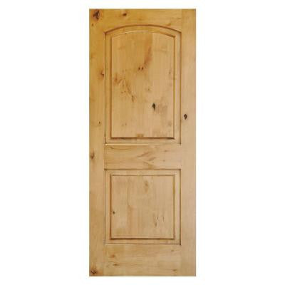 36 in. x 80 in. Rustic Knotty Alder 2-Panel Top Rail Arch Solid Wood Core Stainable Front Door Slab