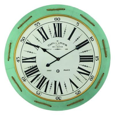 31.5 in. x 31.5 in. Circular MDF Wall Clock with Hemp Rope in Wooden Green Frame