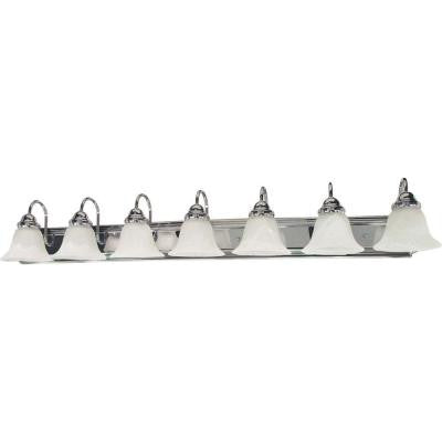 7-Light Polished Chrome Vanity Light with Alabaster Glass Bell Shades