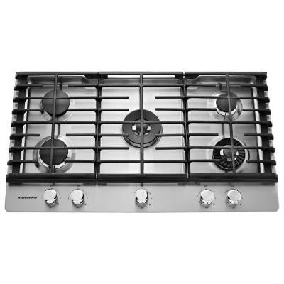 36 in. Gas Cooktop in Stainless Steel with 5 Burners including Professional Dual Tier, Torch and Simmer Burners