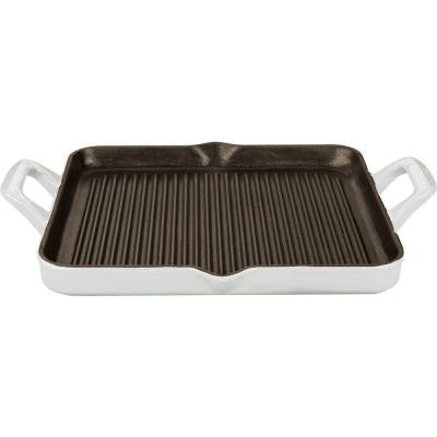 1 qt. Cast Iron Rectangular Grill Pan with White Enamel Finish