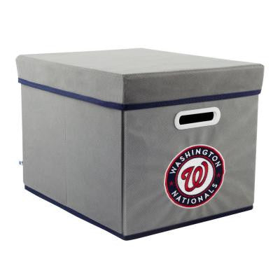 MLB STACKITS Washington Nationals 12 in. x 10 in. x 15 in. Stackable Grey Fabric Storage Cube