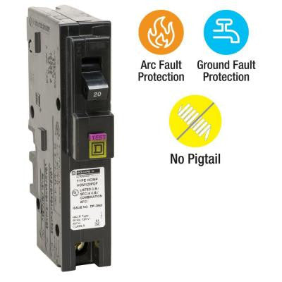 Homeline 20 Amp Single-Pole Plug-On Neutral Dual Function (CAFCI and GFCI) Circuit Breaker