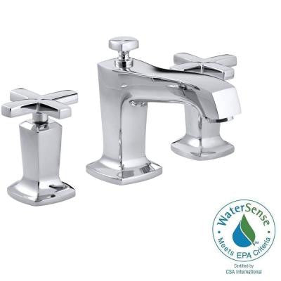Margaux 8 in. Widespread 2-Handle Low-Arc Bathroom Faucet in Polished Chrome with Cross Handles
