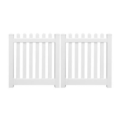 Spokane 8 ft. x 4 ft. White Vinyl Picket Double Fence Gate