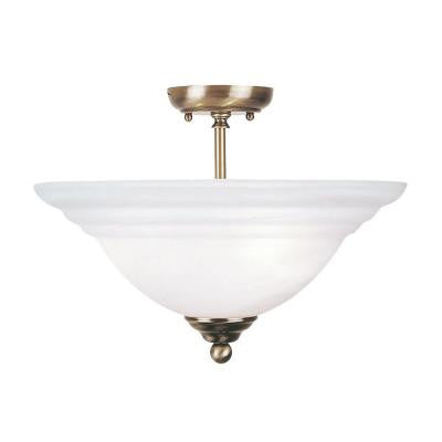 3-Light Antique Brass Flushmount with White Alabaster Glass