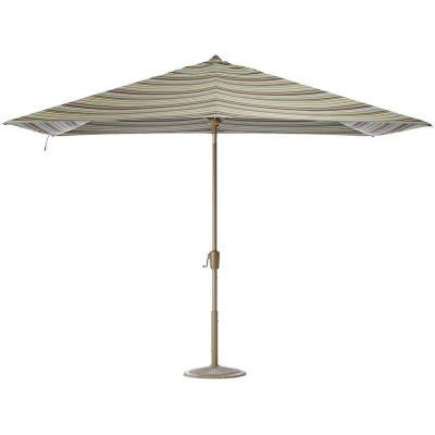 10 ft. Auto-Tilt Patio Umbrella in Brannon Whisper Sunbrella with Champagne Frame