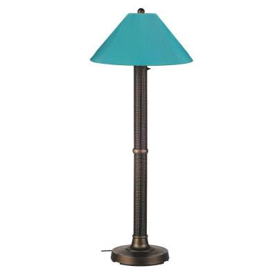 Bahama Weave 60 in. Dark Mahogany Floor Lamp with Aruba Shade