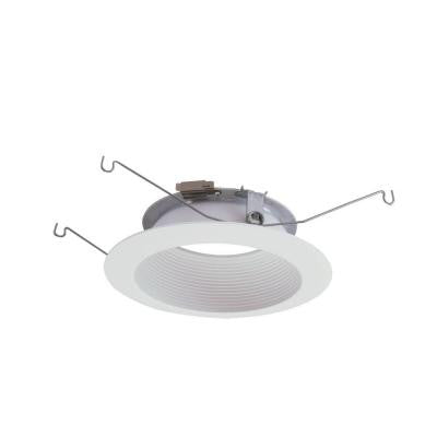5 in. Matte White LED Recessed Lighting Baffle Trim and Flange