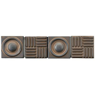 Industry Bronze Border 3 in. x 12 in. x 12 mm Ceramic Mosaic Wall Trim Tile