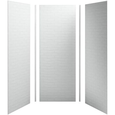 Choreograph 36 in. x 36 in. x 96 in. 5-Piece Shower Wall Surround in Ice Grey with brick Texture for 96 in. Showers