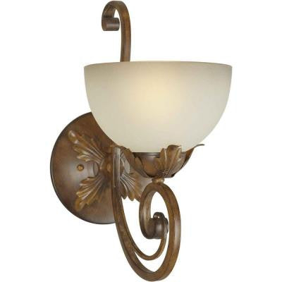 1-Light Rustic Sienna Sconce with Shaded Umber Glass