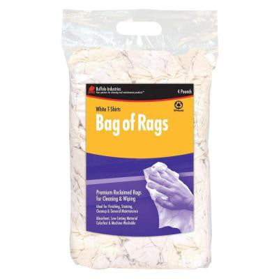 4 lb. Recycled White Cloth Rags Compressed Poly Bag